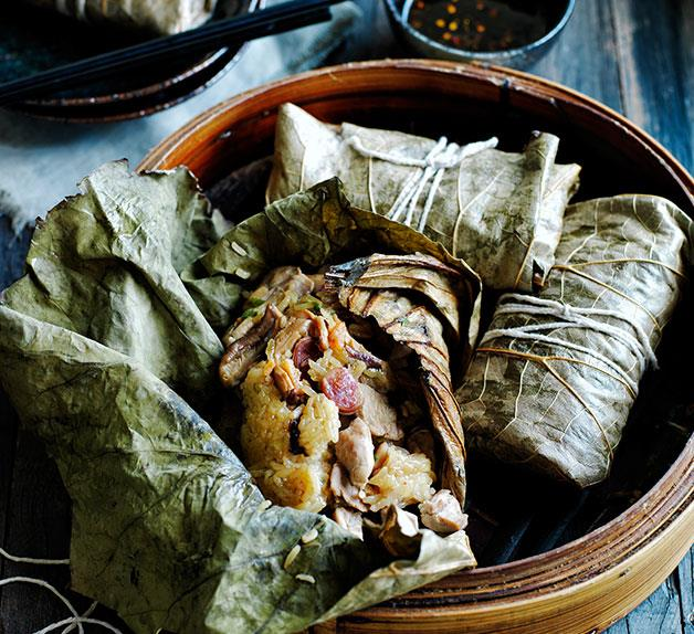 Sticky rice lotus dumplings with roast chilli vinegar