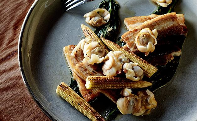 Pork belly with clams, cavolo nero namul and corn (samgyeopsal)