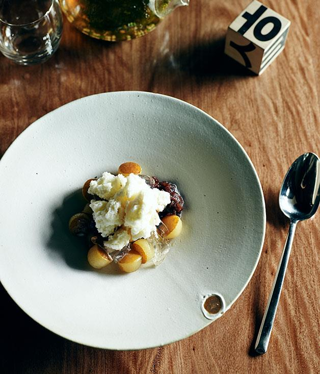 """[**Moon Park's patbingsu (shaved milk ice with poached pear and ginger jelly)**](http://www.gourmettraveller.com.au/recipes/chefs-recipes/shaved-milk-ice-with-poached-pear-and-ginger-jelly-patbingsu-8083