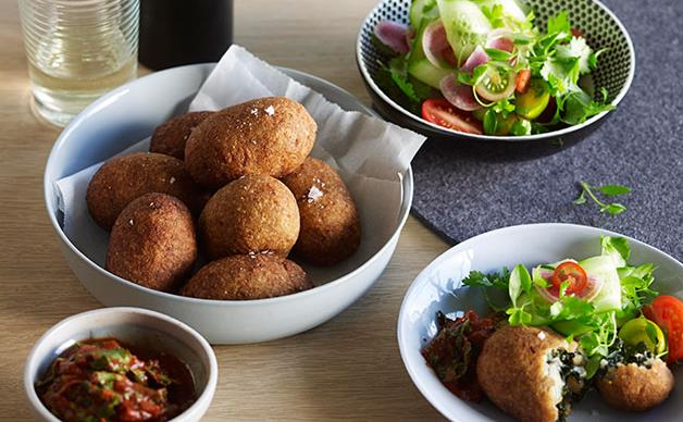 Silverbeet and feta kibbeh with kasundi