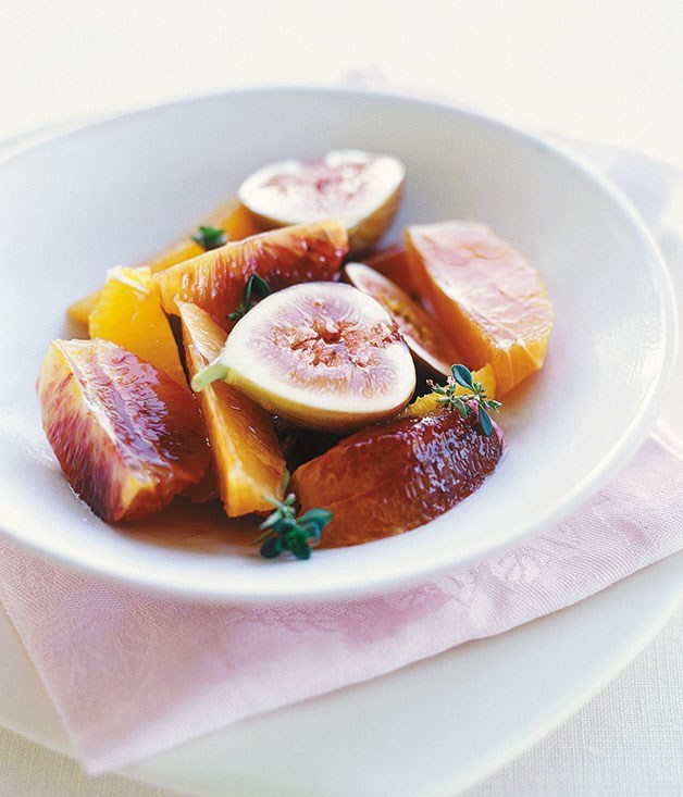**Citrus salad in white wine and thyme syrup**