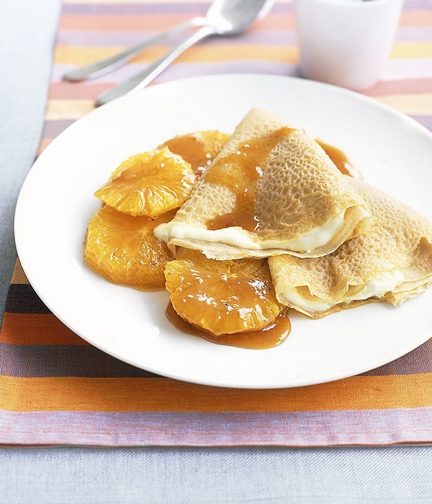 **Crepes with honeyed oranges**