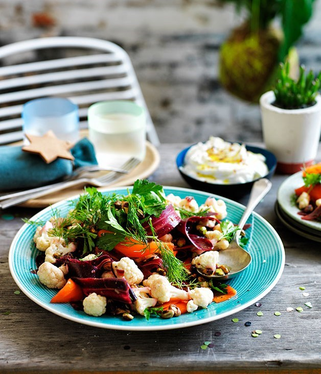 "[**Cauliflower salad with orange and cumin dressing, and buffalo yoghurt**](https://www.gourmettraveller.com.au/recipes/browse-all/cauliflower-salad-with-orange-and-cumin-dressing-and-buffalo-yoghurt-11822|target=""_blank"")"
