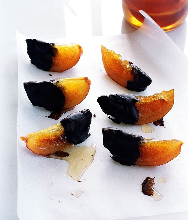 "[**Chocolate-dipped candied oranges**](https://www.gourmettraveller.com.au/recipes/browse-all/chocolate-dipped-candied-oranges-9641|target=""_blank"")"