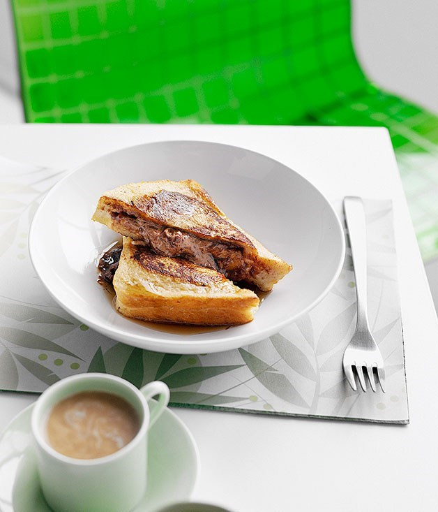 **French-toasted chocolate and banana sandwiches**