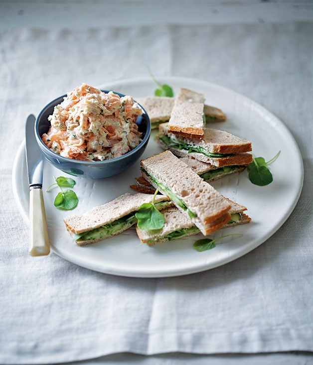 **Rainbow trout rillettes, rye, cucumber and watercress sandwiches**