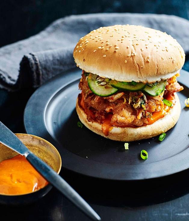 Korean fried chicken burger