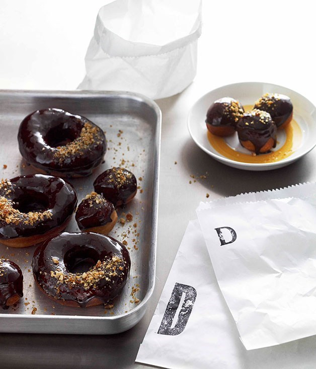 "**[Sticky bitter chocolate doughnuts](https://www.gourmettraveller.com.au/recipes/browse-all/sticky-bitter-chocolate-doughnuts-10721|target=""_blank"")**"