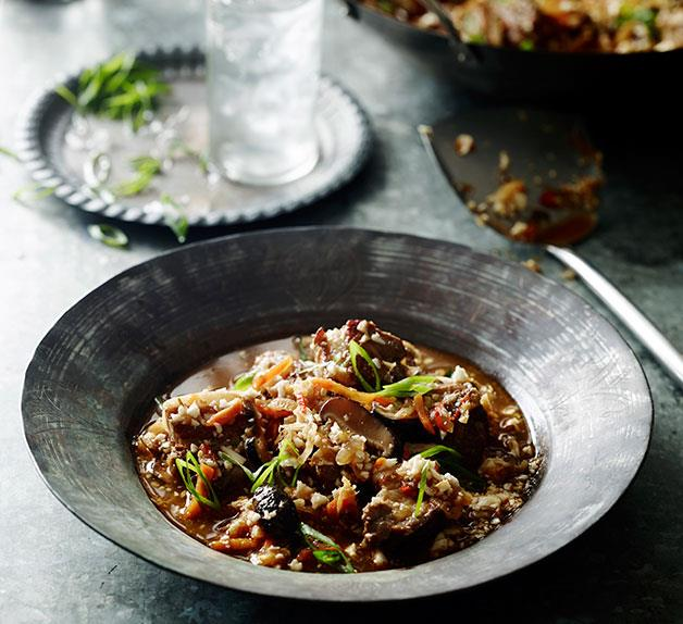 "Pork belly and kimchi stew with cauliflower ""rice"""