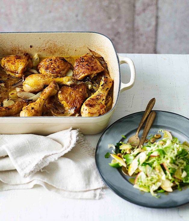 Cider-braised chicken with Brussels sprouts, apple and hazelnuts