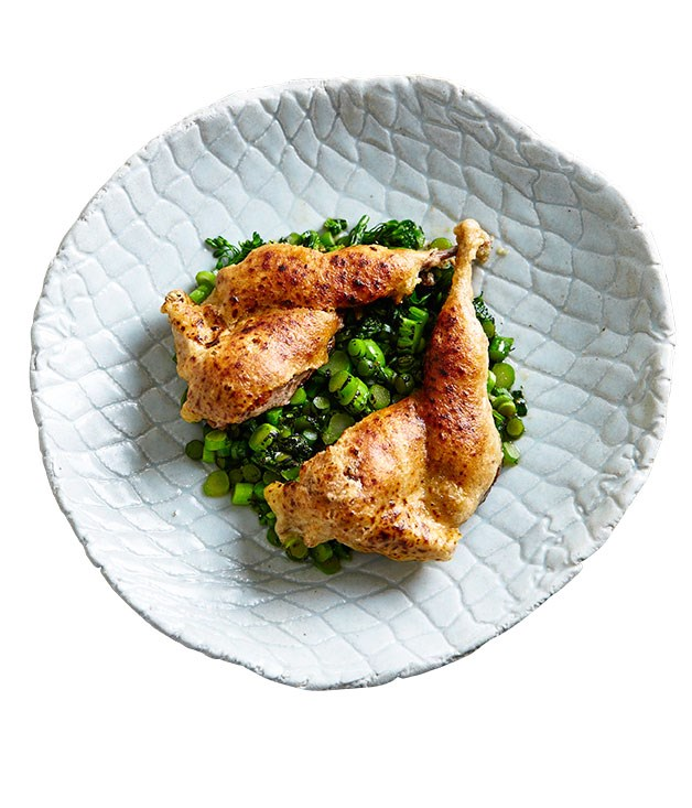 **Pinbone's roast quail with garlic stems and broccolini** Photography: Andrew Finlayson