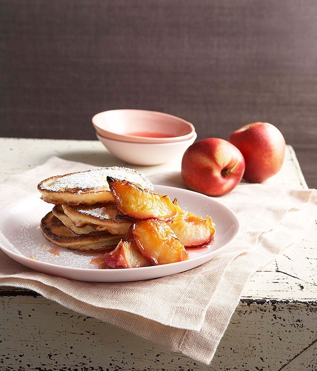 **Buttermilk pancakes with glazed white nectarines**