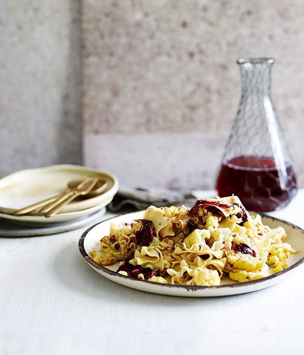 """[**Cauliflower and anchovy pasta**](https://www.gourmettraveller.com.au/recipes/fast-recipes/cauliflower-and-anchovy-pasta-13502 target=""""_blank"""")"""