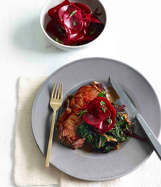 Steak with kale and quick-pickled beetroot