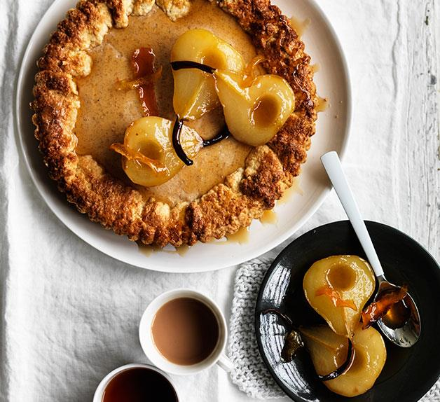 Ricotta maple tart with roast pears