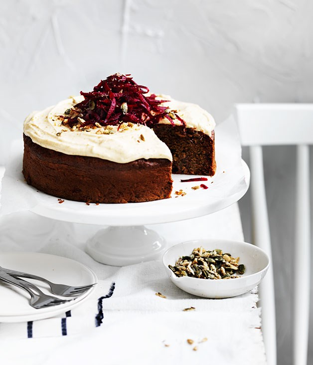 Spiced beetroot seed cake with rapadura frosting