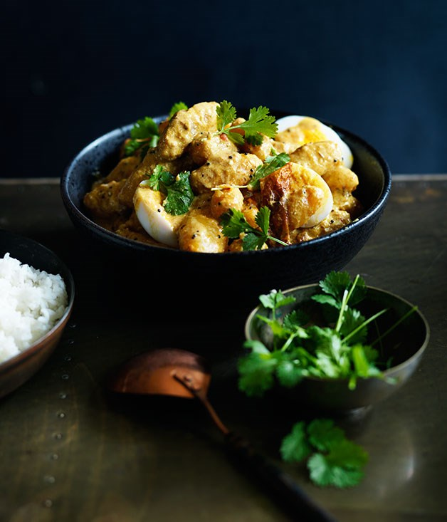 Potato, coriander and egg curry