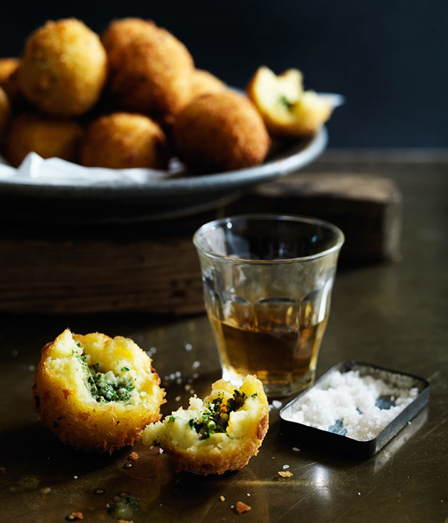 Potato croquettes stuffed with anchovy butter