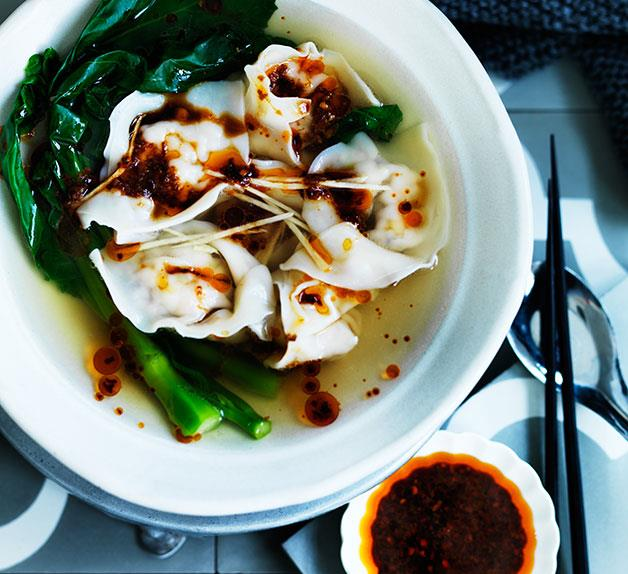 Wonton soup with Sichuan red oil and black vinegar chilli sauce