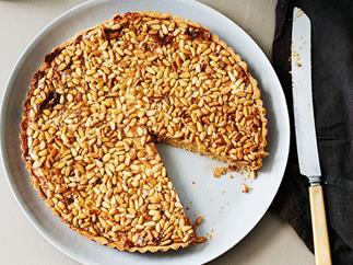 Pine nut dulce de leche tart