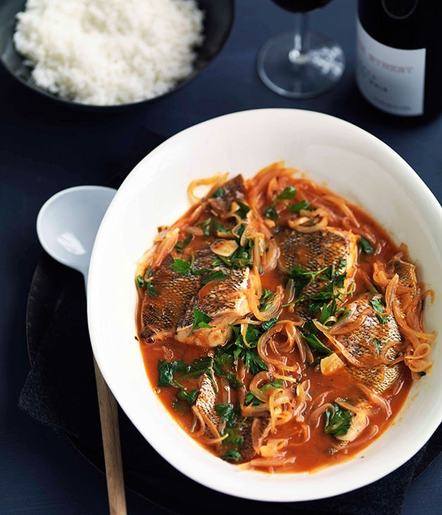 **Spicy Corfiot seafood stew (Bourdetto)**