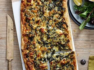 Leek, Swiss chard and feta tart