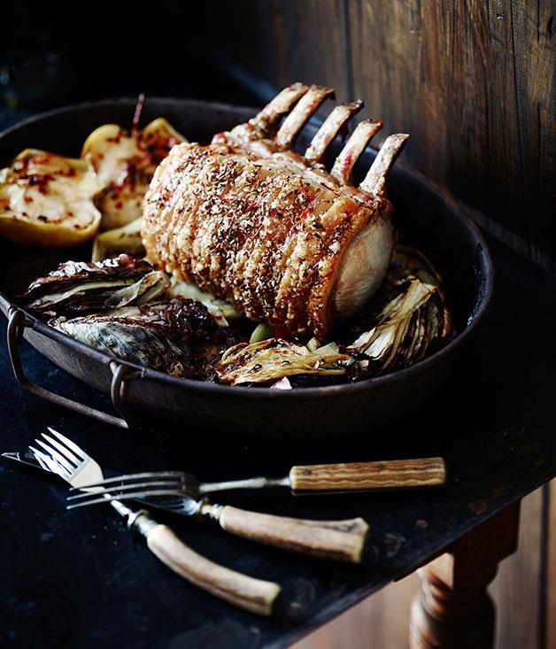 "**[Standing rib roast of pork with radicchio](https://www.gourmettraveller.com.au/recipes/chefs-recipes/standing-rib-roast-of-pork-with-radicchio-8096|target=""_blank"")**"