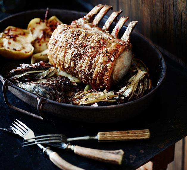 Standing rib roast of pork with radicchio