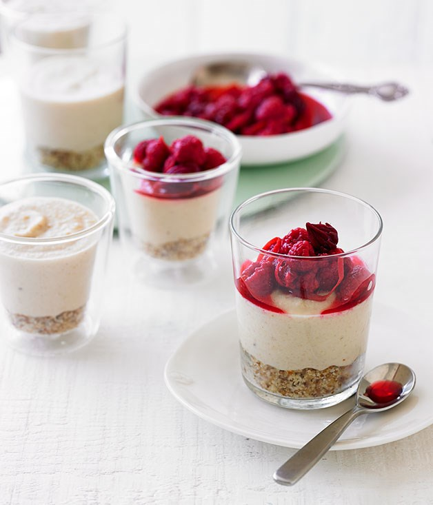"Pete Evans' ""Cheesecakes"" with raspberry and blood orange"