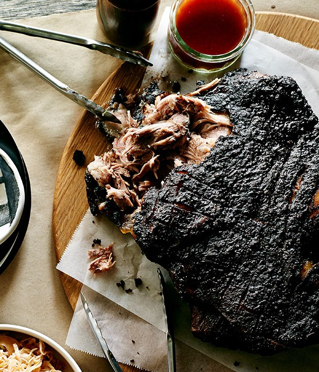 Smoky pork shoulder with Lexington barbecue sauce