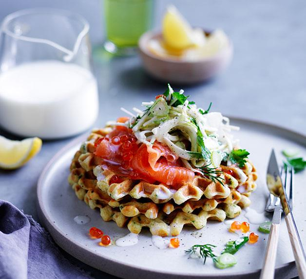 Buttermilk waffles with cured ocean trout and fennel salad