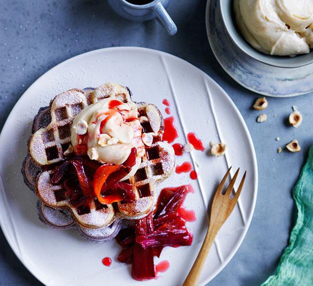 Rhubarb and custard brown-sugar waffles