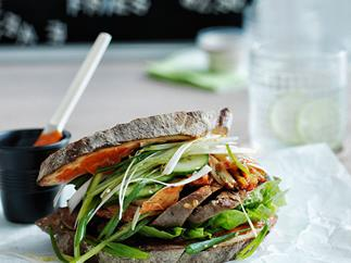 Korean grilled beef sandwich with pajori