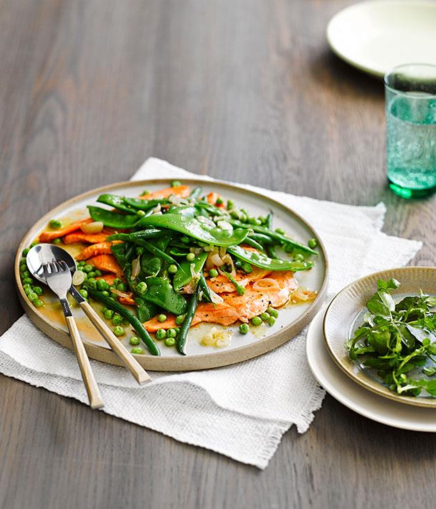 """**[Escalopes of ocean trout with spring vegetables](https://www.gourmettraveller.com.au/recipes/fast-recipes/escalopes-of-ocean-trout-with-spring-vegetables-13510