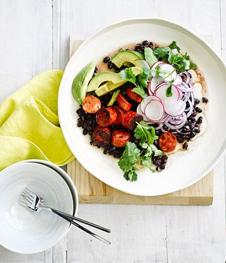 Grilled chorizo with black bean and avocado salad