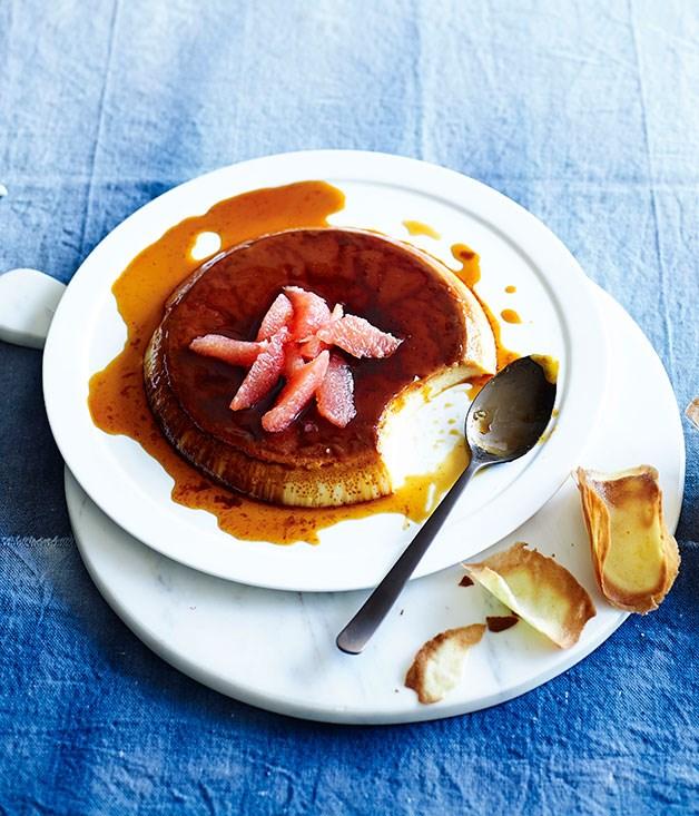 Boozy crème caramel with grapefruit tuiles