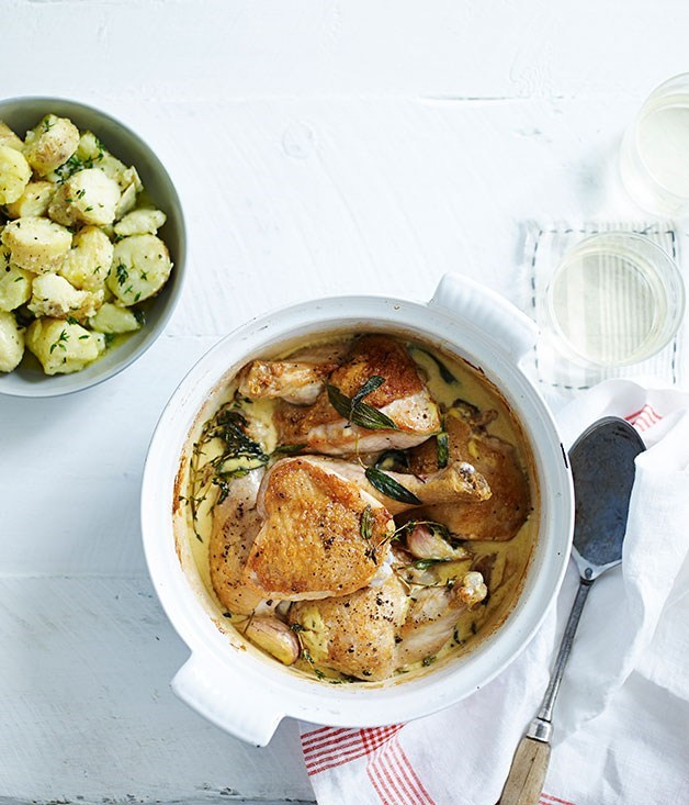 **Lemon and mustard chicken with crushed herb potatoes**