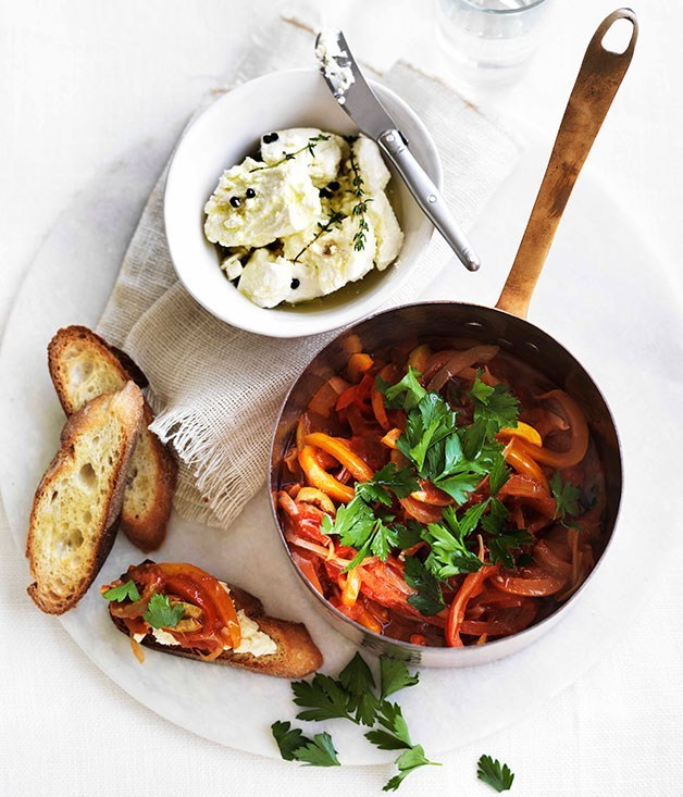**Piperade with soft cheese and toasted baguette**