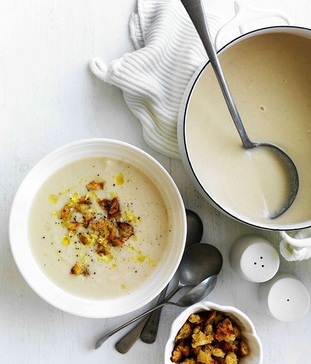 **Cauliflower soup with mustard and Gruyere croutons**