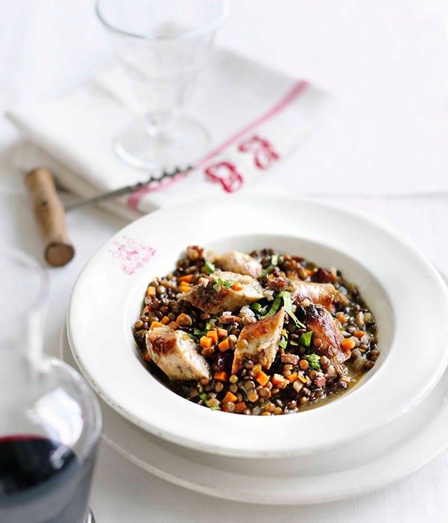 **Sausage with green lentils**