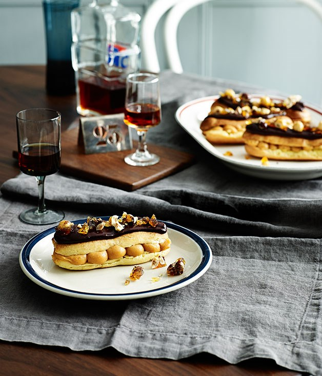 Salted caramel chocolate éclairs