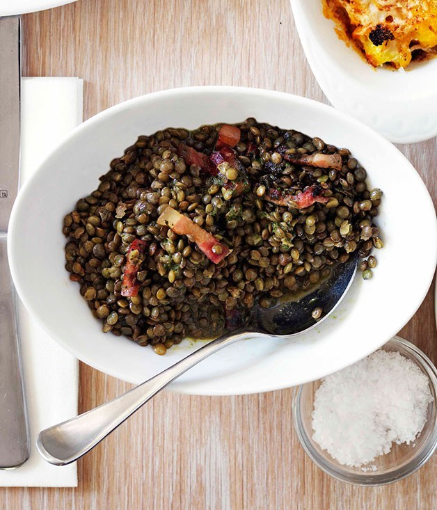 **Lentils with pancetta and pistou**