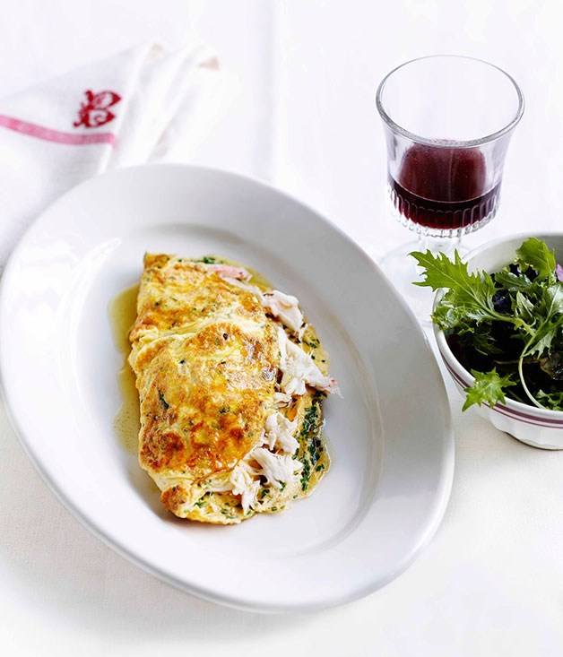 "[**Crab and herb omelette**](https://www.gourmettraveller.com.au/recipes/fast-recipes/crab-and-herb-omelette-13099|target=""_blank"")"