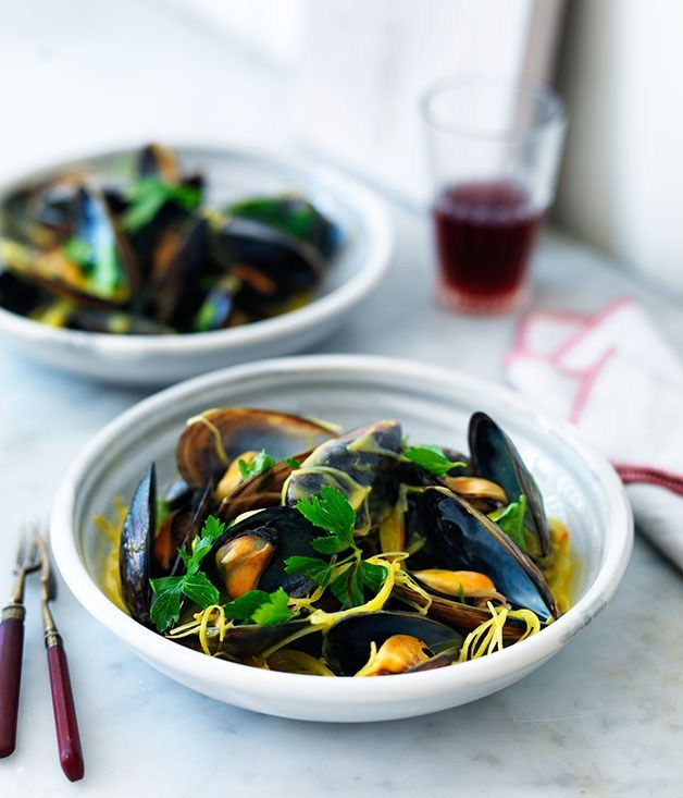 "[**Mussels with leek, cider and saffron velouté**](https://www.gourmettraveller.com.au/recipes/browse-all/mussels-with-leek-cider-and-saffron-veloute-11784|target=""_blank"")"