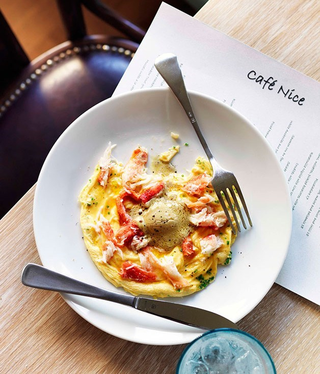 "[**Crab omelette with foie gras butter**](https://www.gourmettraveller.com.au/recipes/browse-all/crab-omelette-with-foie-gras-butter-11690|target=""_blank"")"