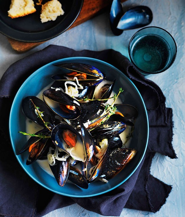 "[**Normandy mussels**](https://www.gourmettraveller.com.au/recipes/browse-all/normandy-mussels-11335|target=""_blank"")"