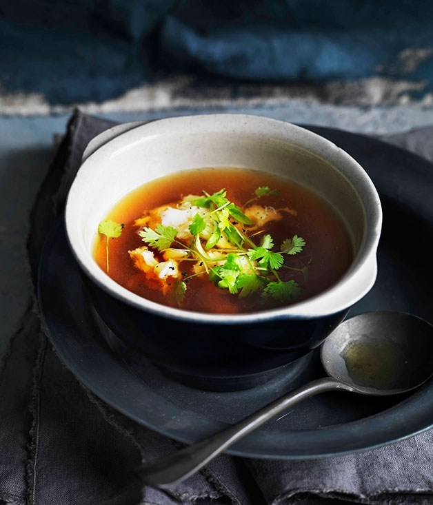 "[**Spanner crab and fennel consommé with soft herbs**](https://www.gourmettraveller.com.au/recipes/browse-all/spanner-crab-and-fennel-consomme-with-soft-herbs-11339|target=""_blank"")"