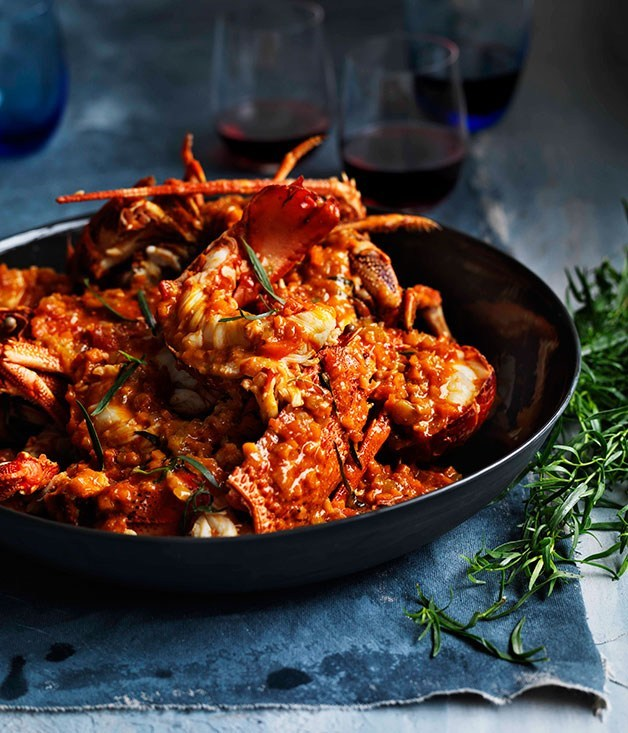 "[**Lobster in Cognac and tomato sauce**](https://www.gourmettraveller.com.au/recipes/browse-all/lobster-in-cognac-and-tomato-sauce-11364|target=""_blank"")"