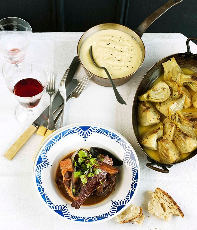 "[**Fisherman's ""coq au vin""**](https://www.gourmettraveller.com.au/recipes/chefs-recipes/fishermans-coq-au-vin-7705