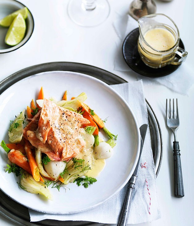 "[**Poached trout with fennel and lime beurre blanc**](https://www.gourmettraveller.com.au/recipes/browse-all/poached-trout-with-fennel-and-lime-beurre-blanc-11007|target=""_blank"")"